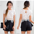 Women Sexy Fashion Crewneck White Shirt Tank Top Summer Short Sleeve Lace Crop Tops Blouses