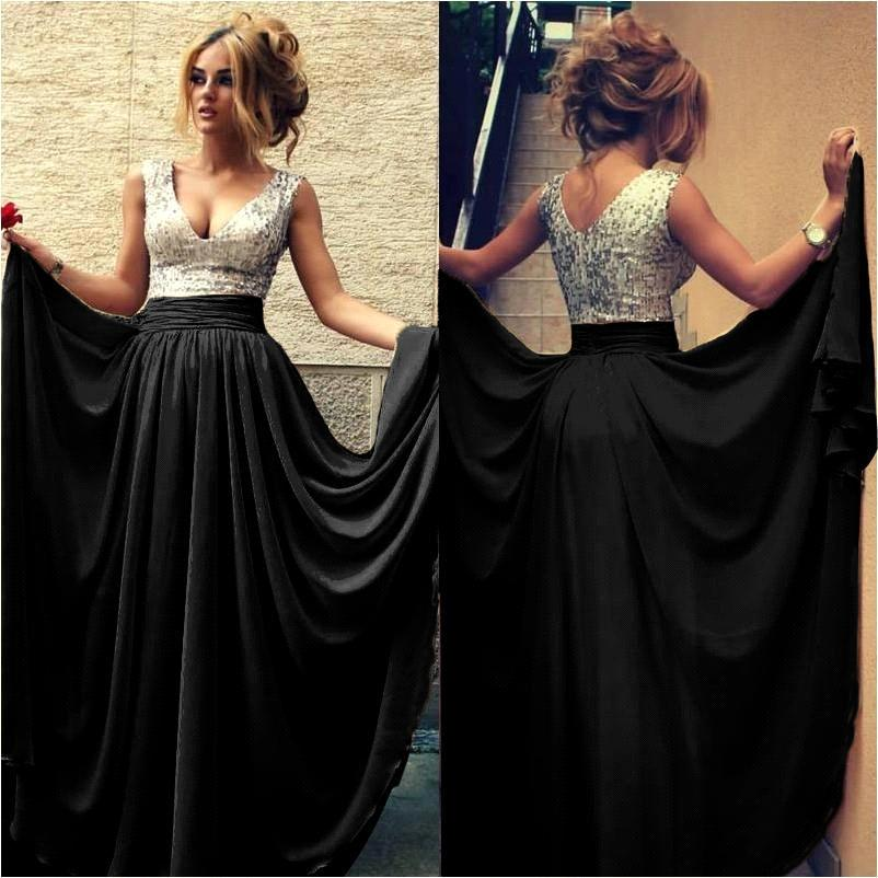 Silver Sequins Burdy Chiffon Prom Dress Elegant A Line Black