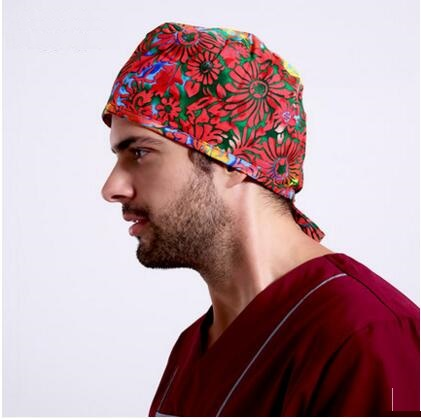 Hospital Printing Medical Cap Doctor Man Woman Surgical CapAdjustable Short Hair Dome Nurse Scrub Hat  Absorb Sweat Terry,50