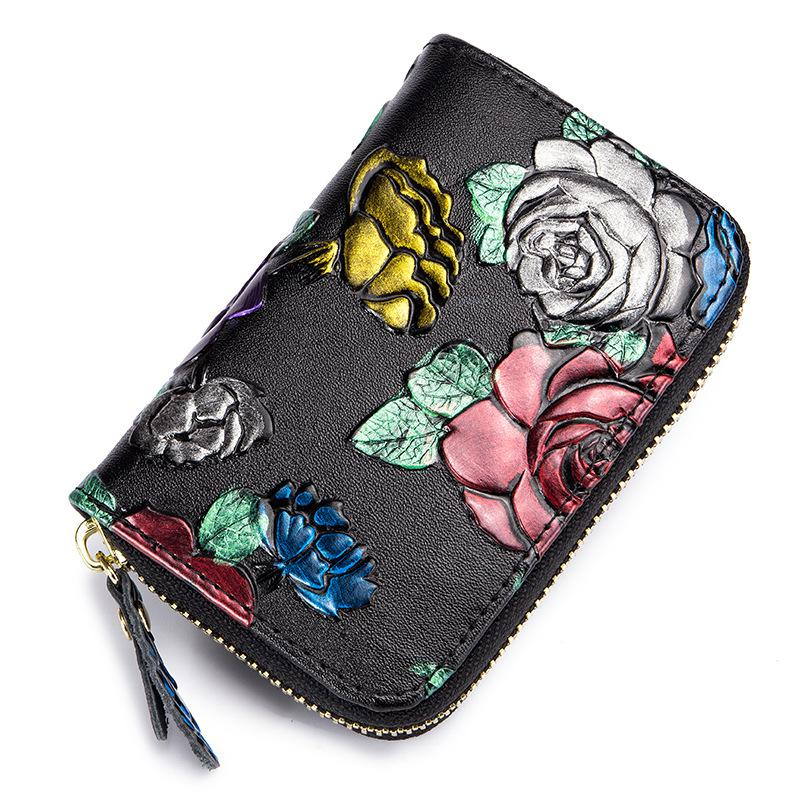 Vintage Printed 3d Rose Carvings Card Holder Female Multi-card Genuine Leather Zipper Small Card Wallet Mini Coin Purse RFID