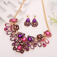 Fashion Necklace Earrings Set Women Flower Jewelry Sets Bridal Costume Indian Wedding Party African Beads Jewelry Set(China)