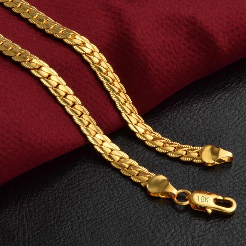 קלאסי נחש שרשרת צמיד ושרשרת סט לגברים מתנה סיטונאי טרנדי אפריקאי דובאי 18 K חותמת זהב צבע תכשיטים סט S374