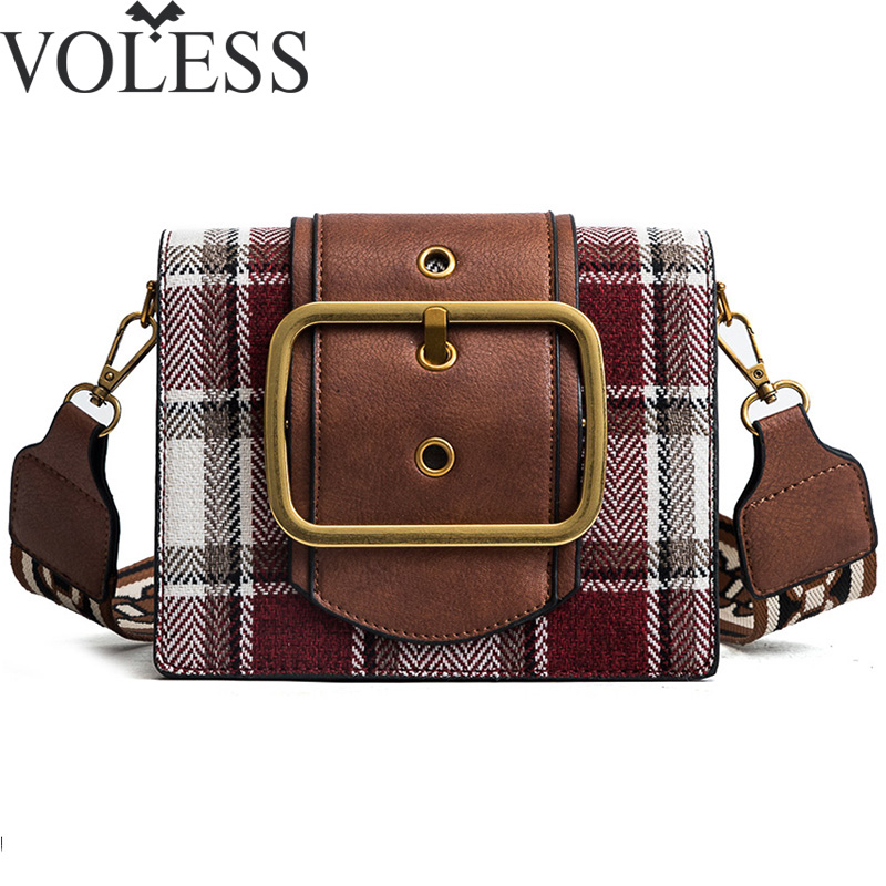VOLESS 2018 High Quality Wide Shoulder Strap Retro Shoulder Small Bag Plaid Fashion Messenger Bag Lady Handbags Bolsa Feminina