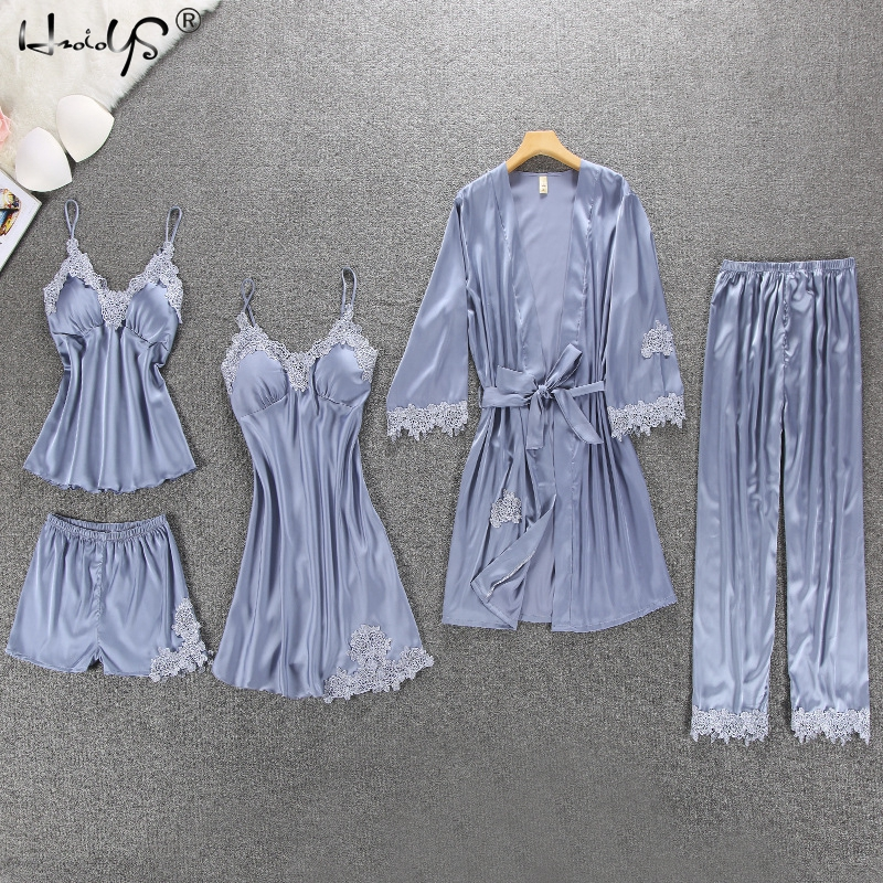 Women Silk Satin Pajamas 5 Pieces Pajamas Sets Sleepwear Pijama Embroidery Lace Sleep Lounge Pyjama With Chest Pads Homewear