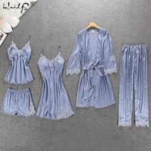 Women Silk Satin Pajamas 5 Pieces Pajamas Sets Sleepwear Pijama Embroidery Lace Sleep