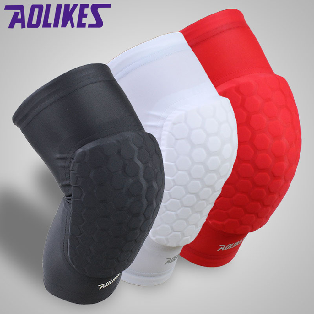 1PC Hex Sponge Knee Pads Leg Compression Sleeve Kneepad for Basketball Sports Safety Collision Avoidance Knee Support Guard