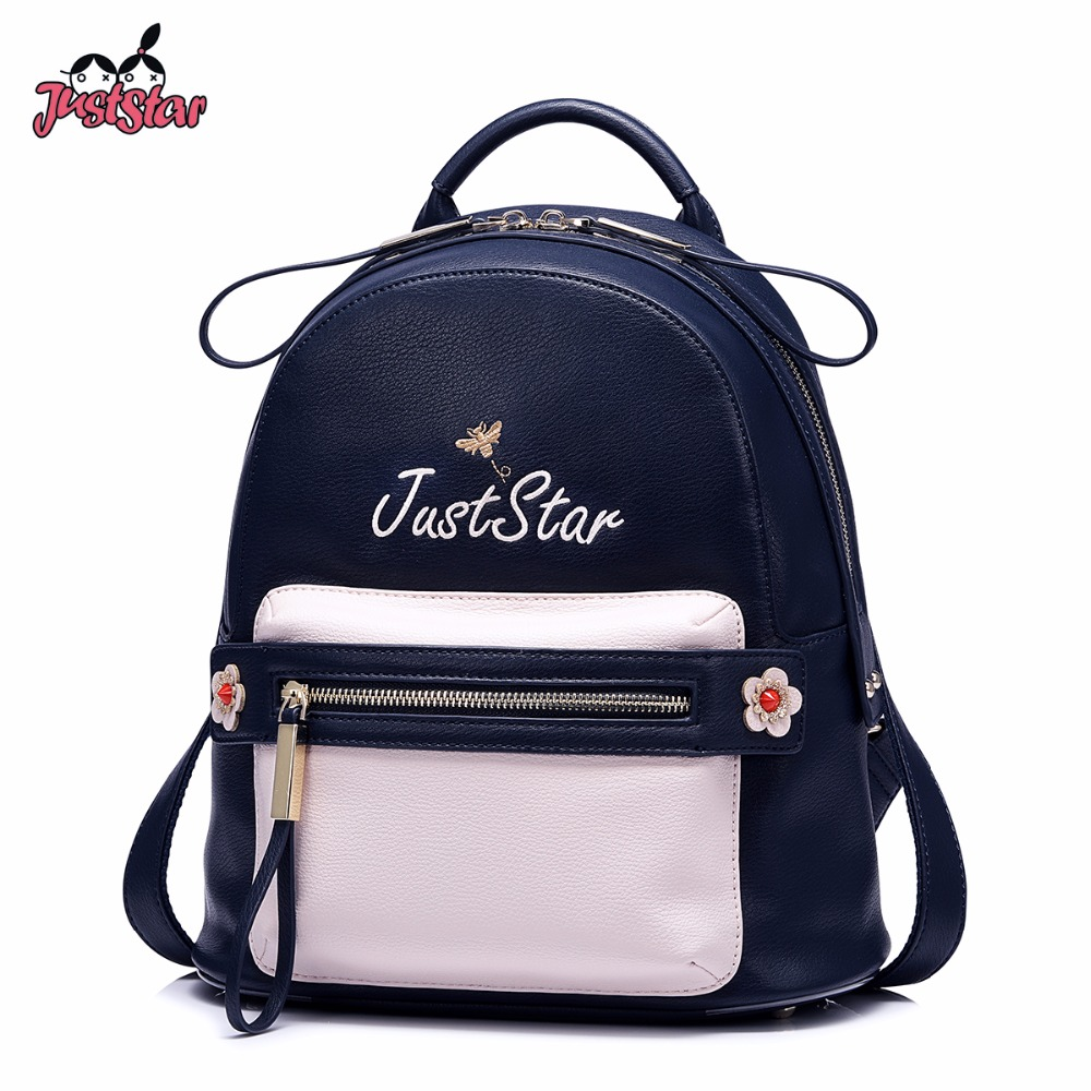 JUST STAR Women's Backpack Female Fashion Embroidery PU Leather Double Shoulder Bags Ladies Patchwork Flower Travel Rucksack