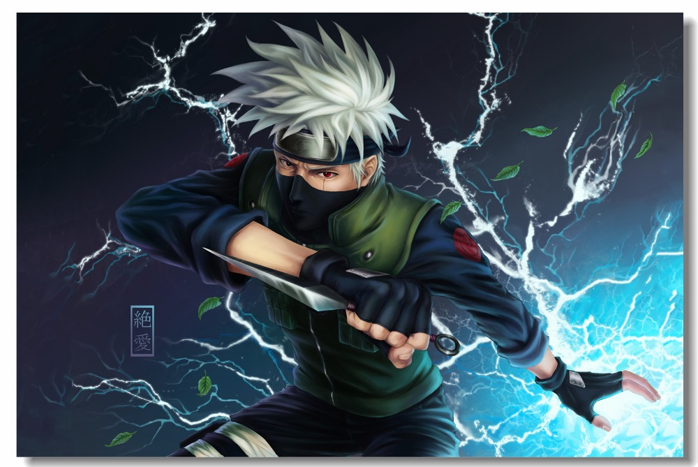 Us 575 28 Offcustom Canvas Wall Mural Japan Anime Naruto Poster Naruto Kakashi Wallpaper Kid Nursery Wall Stickers Decoration Painting 0816 In