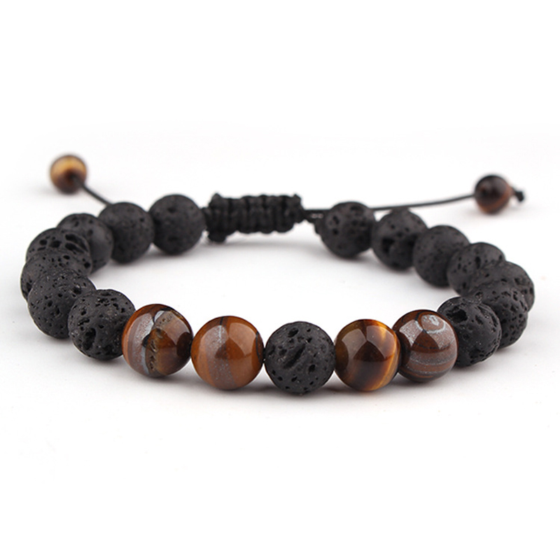 Adjustable Lava Stone Beads Charm Bracelets Jewelry Healing Balance Yoga Tiger Eye Bracelet For Men Women