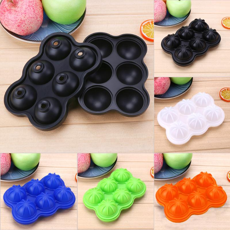 Food Silicone 6 Holes Ice Ball Mold Ice Cream Making Kitchen Drinking Cocktails Whisky Drinks Beverage