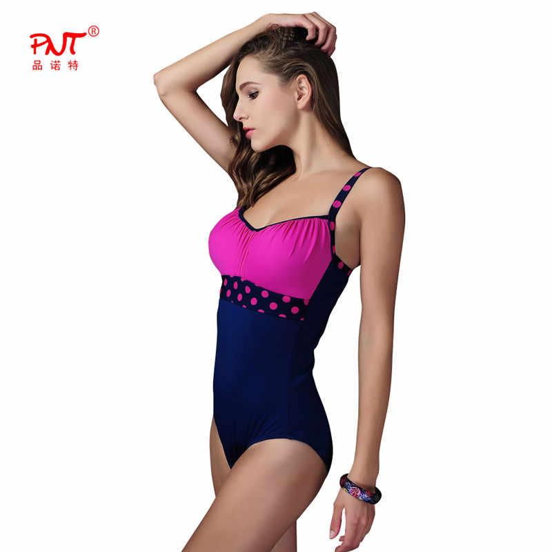 ebc1962a4580d ... PNTHot sale Women One piece Swimsuit New Plus size Swimwear Patchwork  Bathing Suit Female Polka dot ...