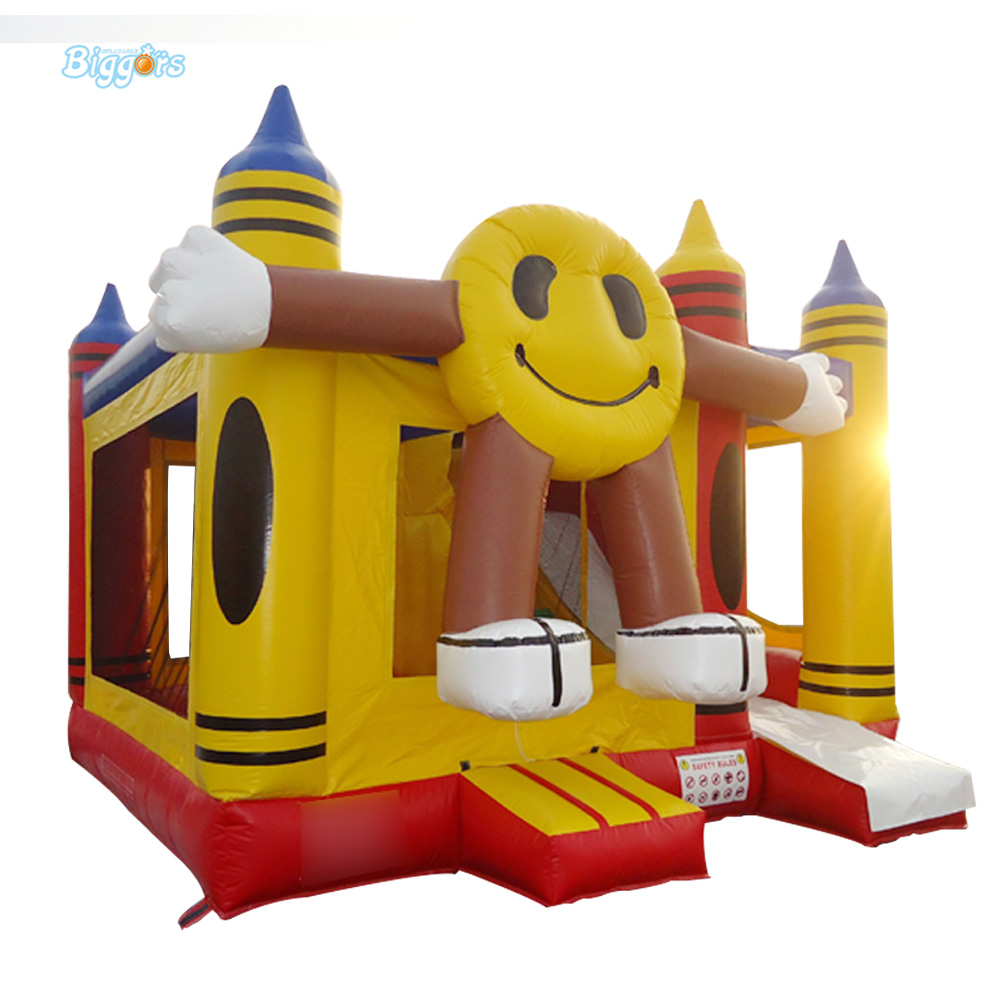 Smile Face Inflatable Trampoline Bouncy Castle Playground for Sale yard giant inflatable bouncer bouncy castle trampoline kids playground combo inflatable slide