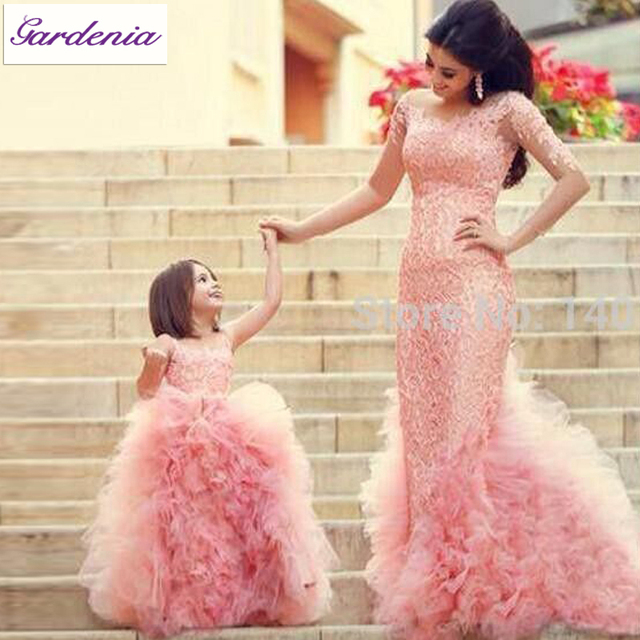 Lovely Mom and Daughter Matching Outfits Real Photo Baby Pink Flower ...