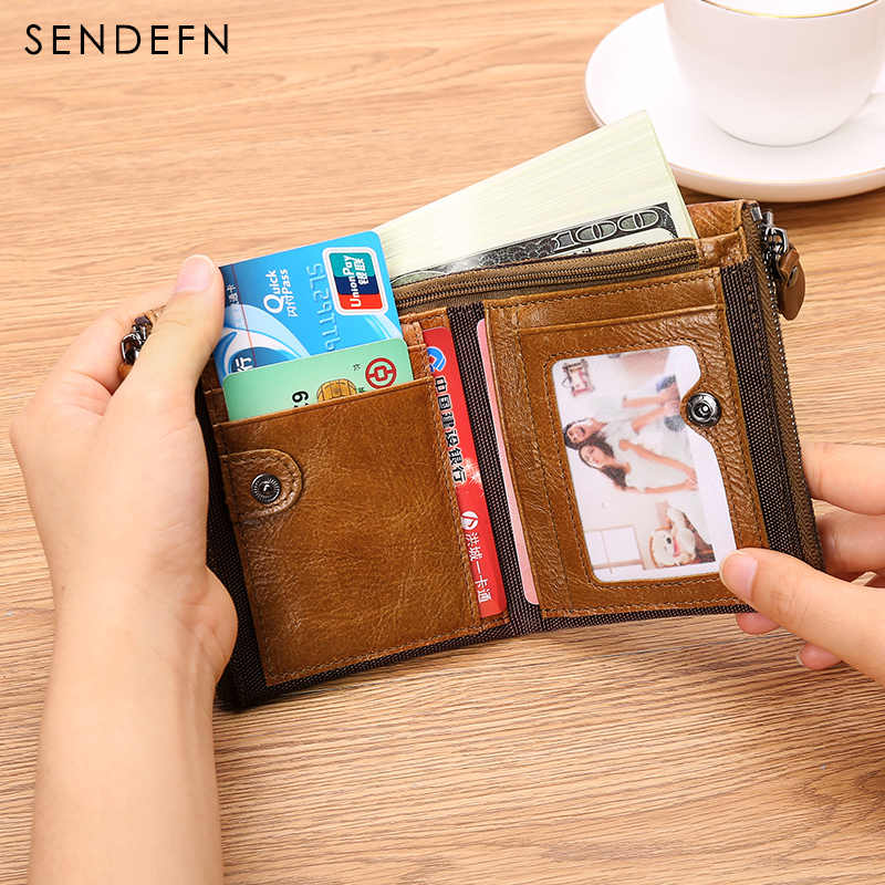 SENDEFN Top Genuine Leather Men Wallet Short Cowhide Male Purse Small Wallet Zipper Design With 2 Coin Purse Pocket 5203-65