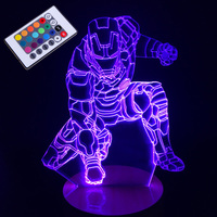 iron man Lamp 3D Visual Led Night Lights for Kids Touch USB Table Lampara Lampe Baby Sleeping Nightlight 7 Color
