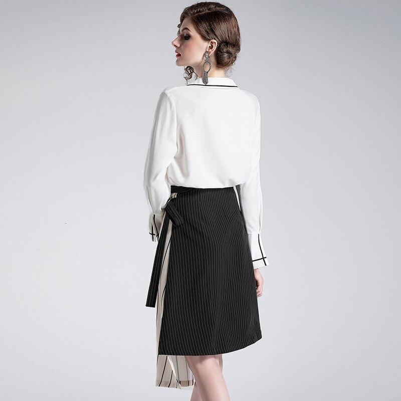 Nouvelles Deux Début longueur Mode Complet 2019 Du De pièce Se Genou Sont Pour Jupe Blanc Polyester Précipités Unique Printemps Femmes Ensemble Banlieue Shirt T906068 Au 01zTqw