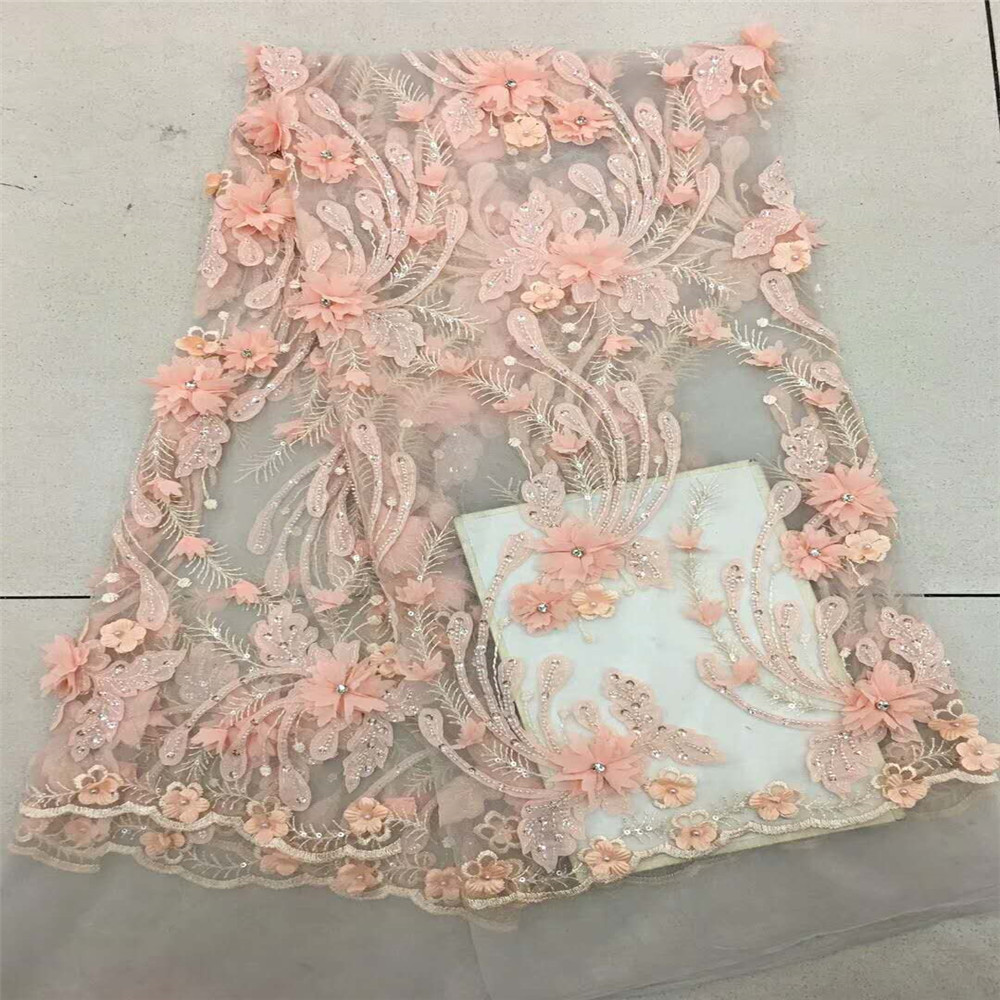 Luxury African French Embroidery Stones Design Peach 3d Flower Lace Fabric For Evening Dress X533-3Luxury African French Embroidery Stones Design Peach 3d Flower Lace Fabric For Evening Dress X533-3