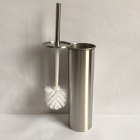 Stainless Steel Toilet Cleaning Bowl Brush Holder Set Bathroom Accessory Silver