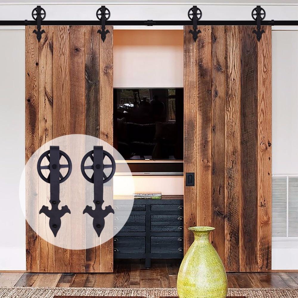 LWZH Sliding Barn Door Hardware Kit Black Steel Arrow Flower- Shaped with Big Rollers Closet Door Hardware for Double Door 7/9FT