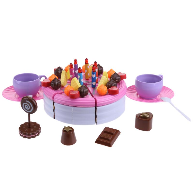 55-63pcs DIY Pretend Play Cutting Birthday Cake Kitchen Food Toys Girls Party DIY Model Supplies Set Kids Early Educational Toy