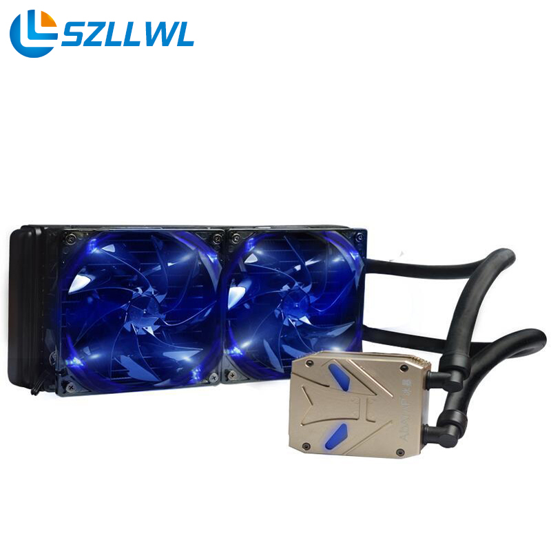 CPU cooler water cooling radiator TDP 320W cooler with 2 piece PWM 120mm cooling fan for computer water cooler radiator for computer cpu water cooling with led ring 4pin 120mm pwm fan and aluminum heatsink liquid cooling