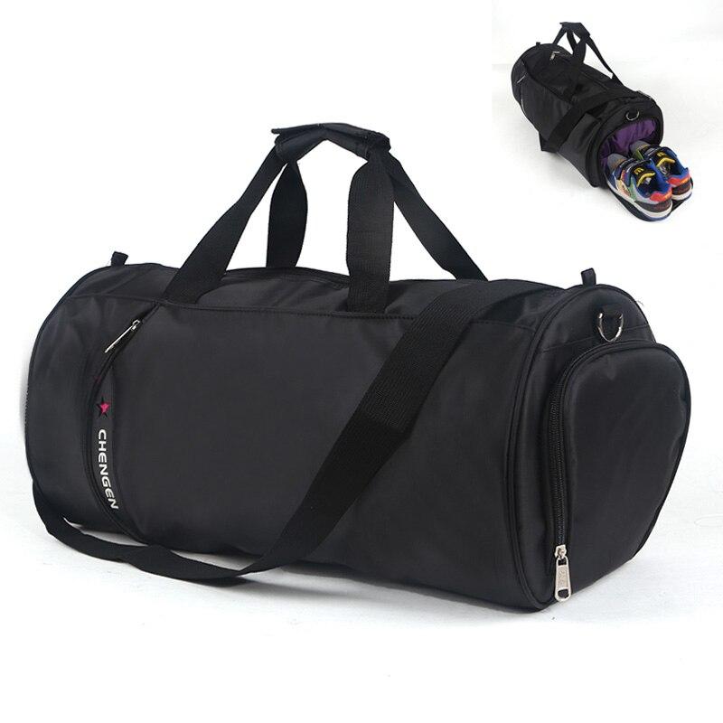5e6df201814 Big Capacity Unisex Nylon Sport Gym Bag Barrel Fitness Training Sports  Handbag Traveling Package Shoulder Bag With Shoes Pocket