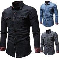 HuLooXuJi Fashion Casual Mens Washed Denim Shirt Long Sleeve Cotton Jeans Slim Fit Shirts Two pocket Tops Jeans US Size:M 3XL