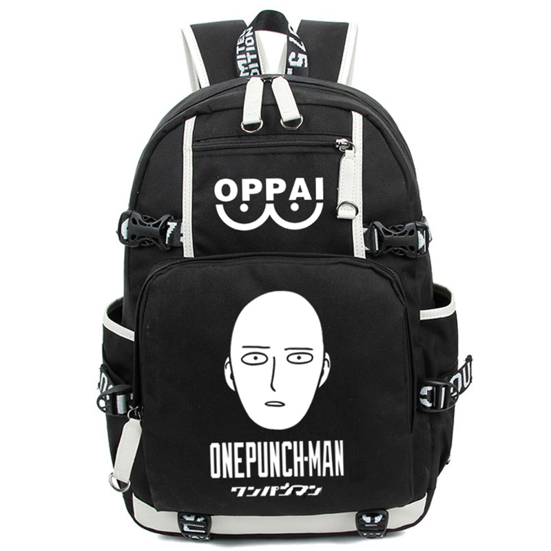New Fashion Luminous Cartoon Anime One Punch Man Backpack Saitama Printing Students Backpacks Rucksack Schoolbag Free Shipping free shipping korean version candy colors fairy tail logo printing man woman canvas schoolbag red green black blue backpacks