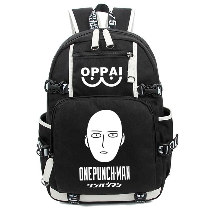 New Fashion Luminous Cartoon Anime One Punch Man Backpack Saitama Printing Students Backpacks Rucksack Schoolbag Free Shipping