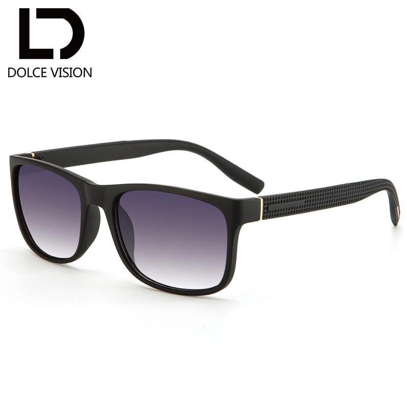 DOLCE VISION Square Sunglasses Men High Quality Retro Shades Gradient Lens Black Frame Cool Eyewear Driving Sun Glasses For Men