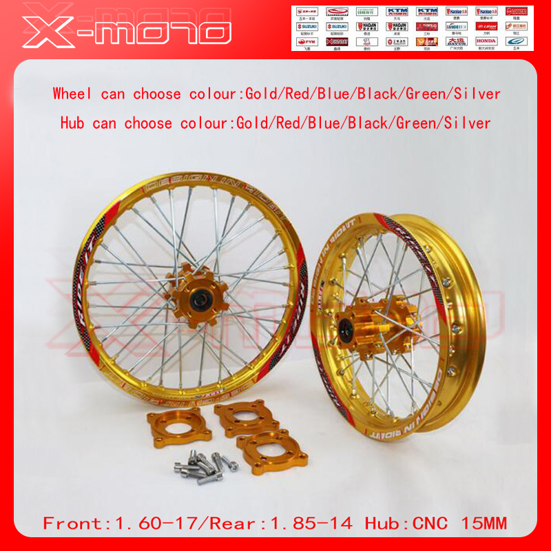 15mm Front 1.60-17 Rear 1.85-14 inch Alloy Wheel Rim with CNC Hub For KAYO HR-160cc TY150CC Dirt Pit bike 14/17 inch Gold wheel front 1 60 17 rear 1 85 14 inch alloy wheel rim with cnc hub for kayo hr 160cc ty150cc dirt pit bike 14 17 inch motorcycle wheel