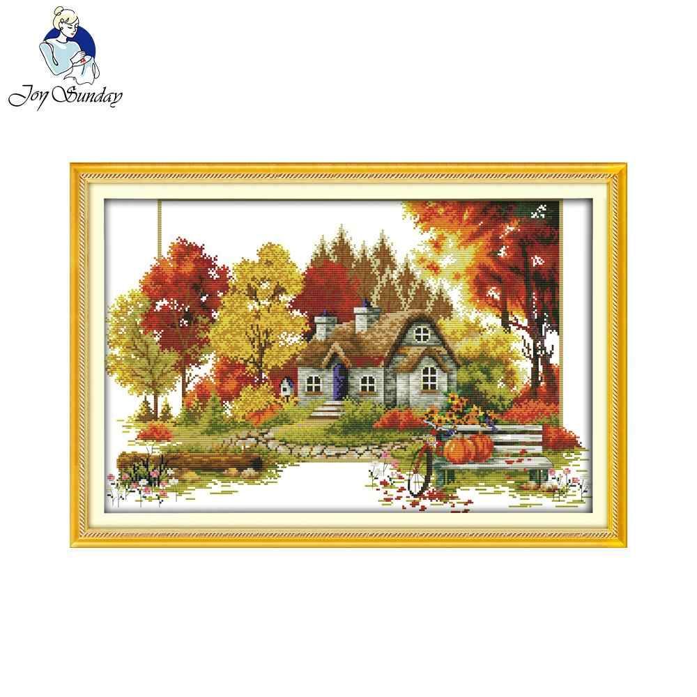 Joy Sunday Autumn Landscape Patterns Handcrafts Needlework DIY Cross Stitch Embroidery Kit of Cross-Stitch Painting for Ornament