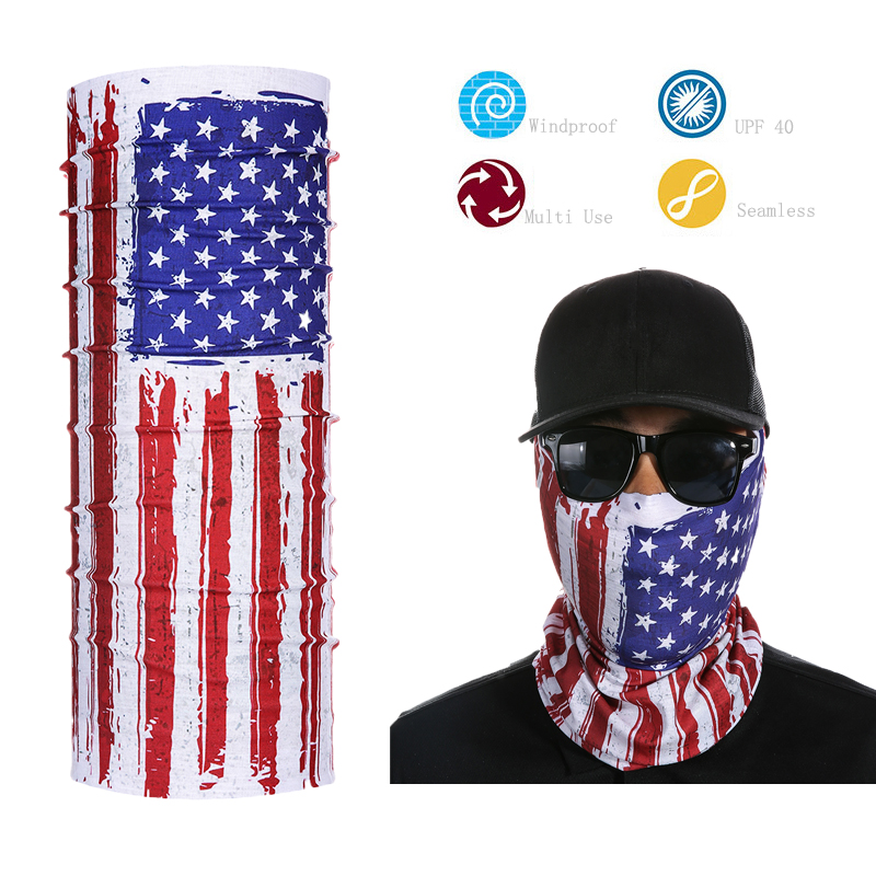Promotional Design Polyester Tubular American Flag Bandana