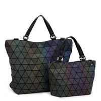 BaoBao Bags 2017 Women Bucket Bag Geometry Sequins Mirror Saser Plain Folding Shoulder Bags Luminous PU
