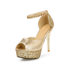 women shoes sandals heels high heel platform fish mouth fine with sexy sequin party shoes 2016 new zapatos mujer