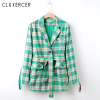 2019 New Spring Autumn Elegant Green Plaid Long blazer Jacket Women Vintage Long Sleeve With Sashes Female Casual Outerwear Tops