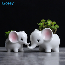 Simple outdoor gardening creative fleshy flower pot desktop potted ornaments Elephant art ceramic home decoration vase flower