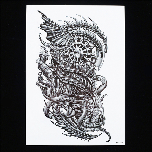 1pc Creative Tatoo Design Fake Machine Dragon Picture Design Women Men Body Sleeve Back Art HB159 Temporary Water Tattoo Sticker