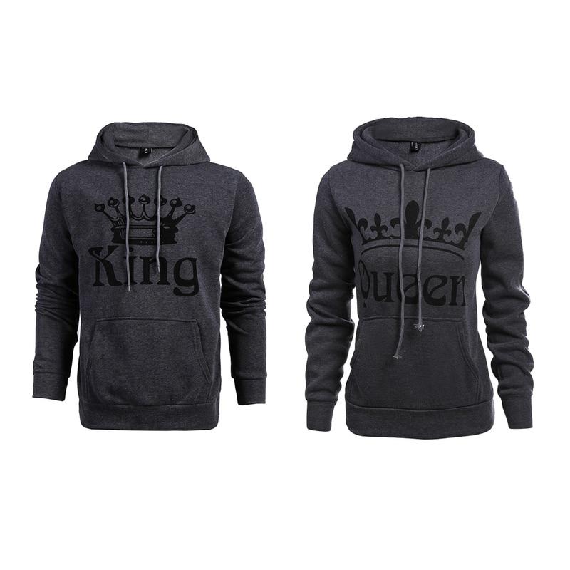 Hot KING Queen Hooded Pullovers Hoodie Couple Long Sleeve Winter Women Men Slim Sweatshirt for Couple Lovers Valentines Day