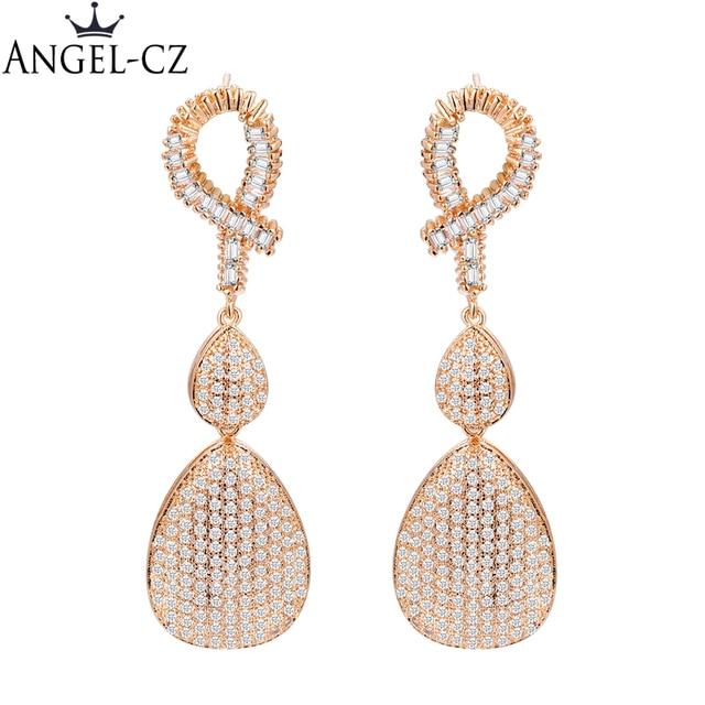 b476adbf6 ANGELCZ Luxury Micro Pave CZ African Jewelry Dubai Gold Color Cubic Zircon  Teardrop Wedding Long Dangle Earrings For Women AE191