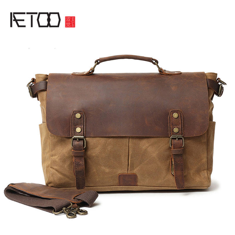 AETOO Oil wax canvas with crazy horse leather official handbag European and American cover men's bag Vintage Messenger bag цена