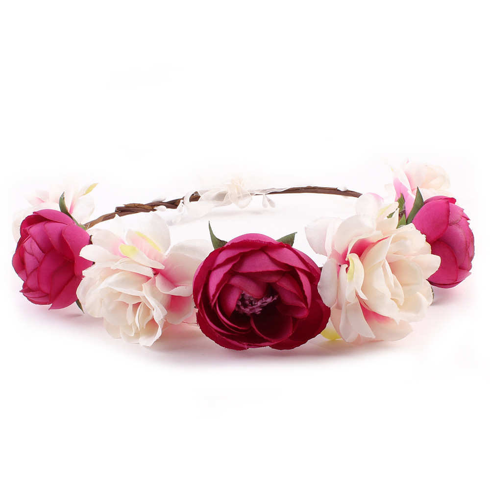 Girl Roses carnations peony Flower Bridal Floral Crown Hair Wreath Mint head wreath wedding accessories bridesmaid headpiece батарейки gp аа 15au ft 2cr8 с фонарем