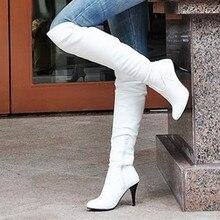 Femmes Bottes Mince Talons hauts Bottes Femmes Sexy Sur Genou Dames Bottes printemps Automne Chaussures Noir Blanc Chaussures Plus La taille 9 10 42 43