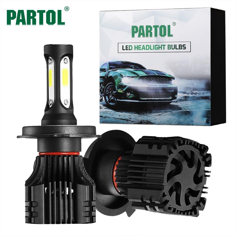 Partol S5 COB 72W H1 H4 H7 H11 9005 9006 LED Headlight Bulbs Car Light Auto Headlamp Fog Light Hi-Lo Beam 8000LM 6500K 12V 24V leadtops led h4 h7 h11 h1 h13 h3 9004 9005 9006 9007 cob led car headlight bulb hi lo beam 72w 8000lm 6500k auto headlamp 12v dj
