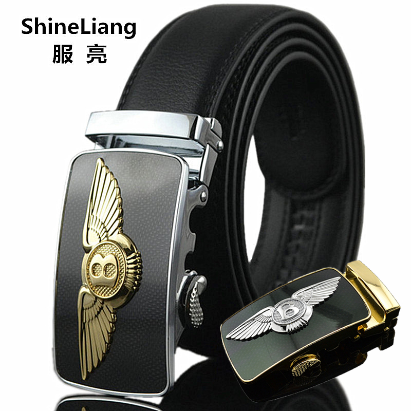 Men's automatic Belt Fashion business style Gold silver Buckle without interlayer Leather body Designers High quality Male Belt