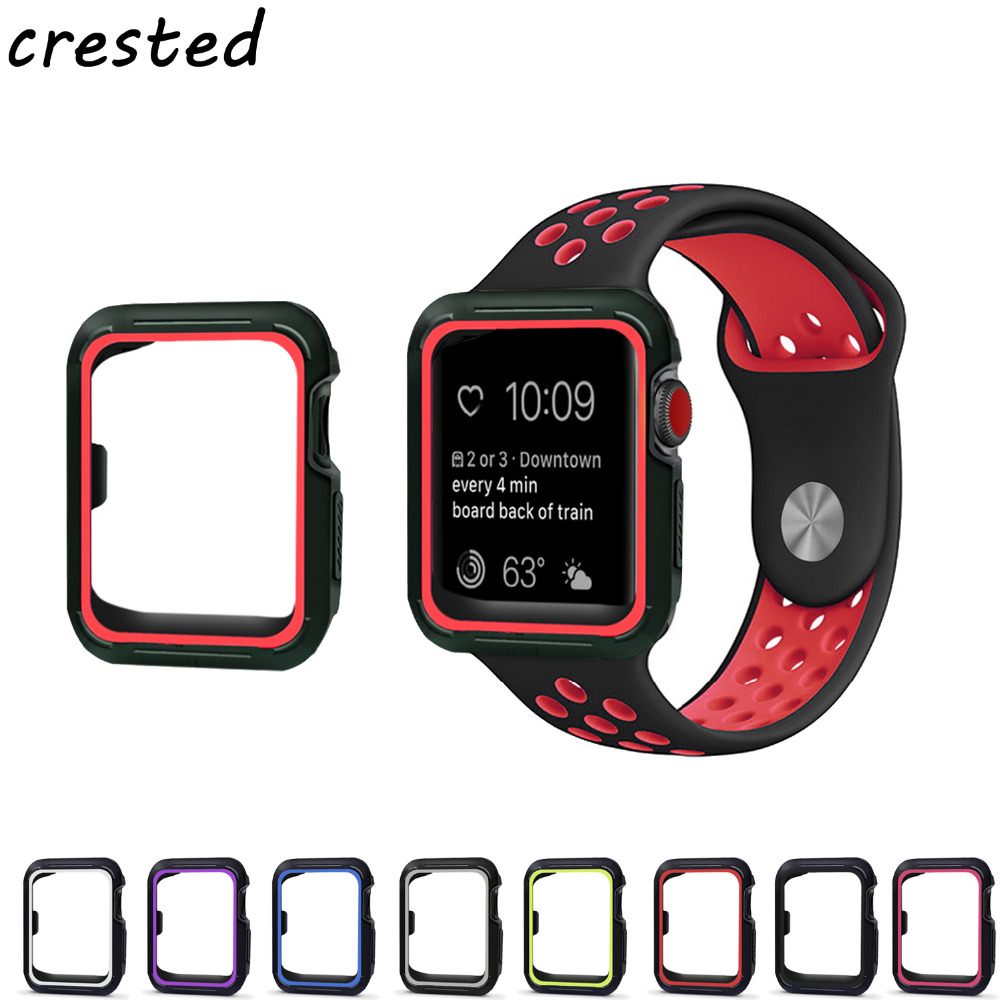 CRESTED silicone watch case for apple watch 42mm 38mm full protector case for iwatch 3/2/1 rubber case for apple nike watch band смарт часы apple watch nike 38mm