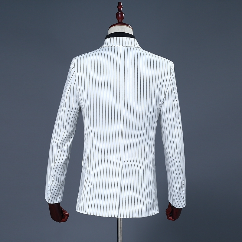 Pyjtrl Brand Men's Two Piece Set White Stripe Dress Suits Wedding Suits For Men Tuxedo Gentle Modern Blazer Men Suits #2