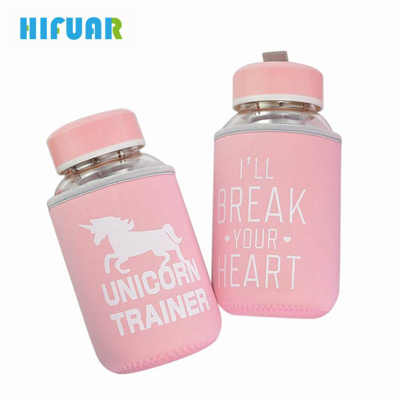 HIFUAR 600ml cute Glass Water Bottle with Cloth Protection Cover Tumbler Milk Bottles Tea Fruit Infuser Pink Gifts container