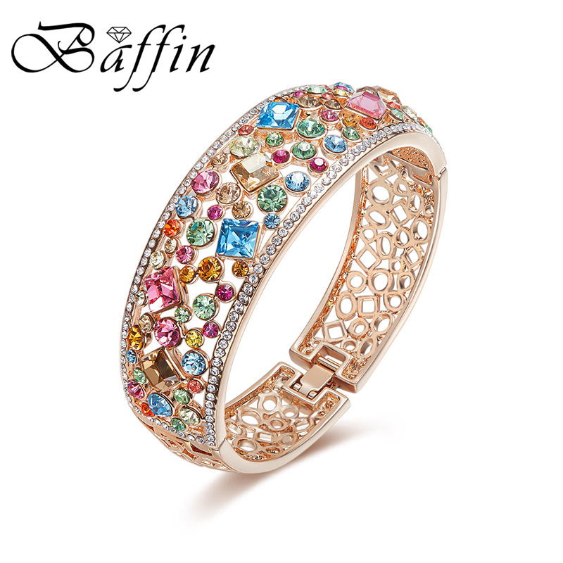 BAFFIN Colorful Crystals From Swarovski Statement Bracelet Bangle Rose Gold Color Hand Pulseras For Women Luxury Christmas Gift delicate colorful hand knitted bracelet for women one piece
