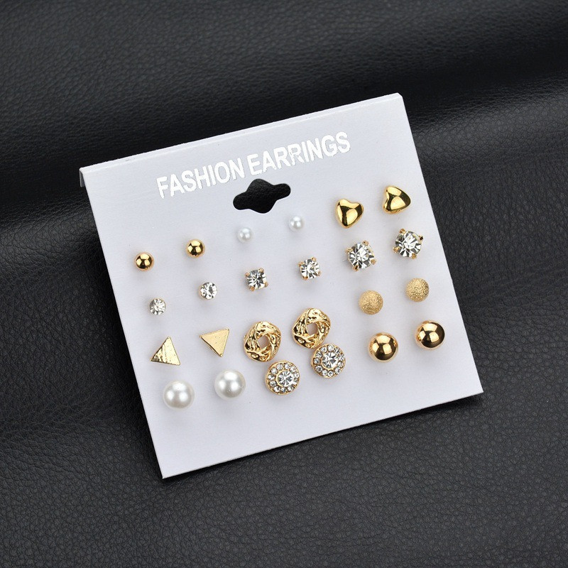 ZORCVENS 12 Pairs/Set Fashion Crystal Simluated Pearl Stud Earrings Jewelry For Women Girls Wholesale gold earrings for women